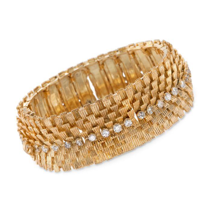 "C. 1970 Vintage 2.80 ct. t.w. Diamond Wide Textured Bracelet in 18kt Yellow Gold. 6.75"""