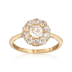 C. 1930 Vintage 1.23 ct. t.w. Diamond Cluster Ring in 14kt Yellow Gold. Size 7, , default