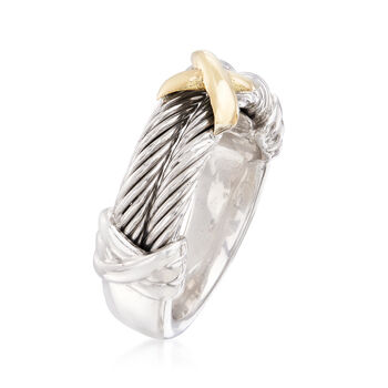 "Phillip Gavriel ""Italian Cable"" Sterling Silver Ring with 18kt Gold. Size 7"