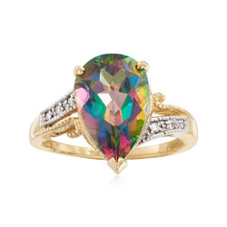 5.25 Carat Multicolored Topaz Ring With Diamond Accents in 14kt Yellow Gold, , default