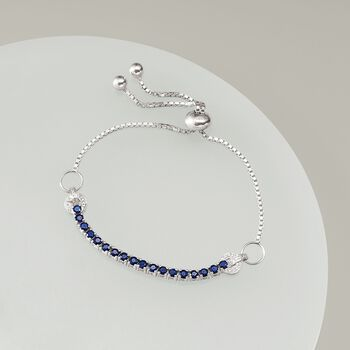 2.05 ct. t.w. Sapphire Bolo Bracelet with White Zircon Accents in Sterling Silver