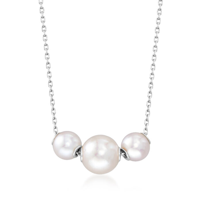 Mikimoto 5.5.-7.5mm A+ Akoya Pearl Necklace in 18kt White Gold
