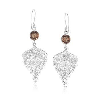 4.00 ct. t.w. Smoky Quartz Leaf Drop Earrings in Sterling Silver, , default