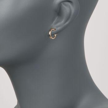 """Italian 2mm 18kt Yellow Gold Hoop Earrings. 1/2"""", , default"""