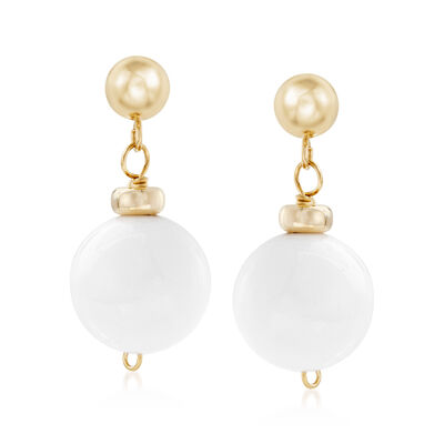 White Agate Bead Earrings in 14kt Yellow Gold, , default