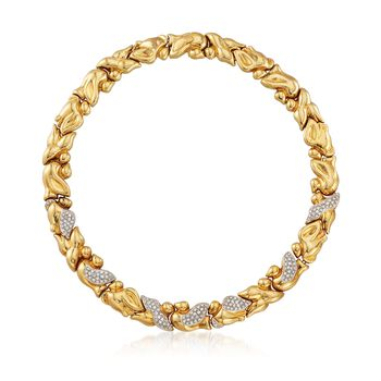 """C. 1980 Vintage 4.50 ct. t.w. Cascade Leaves Diamond Necklace in 18kt Yellow Gold. 17"""", , default"""