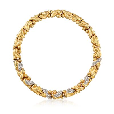 C. 1980 Vintage 4.50 ct. t.w. Cascade Leaves Diamond Necklace in 18kt Yellow Gold, , default