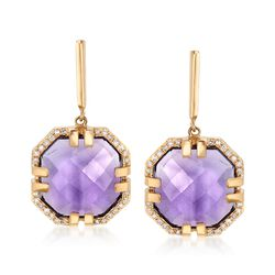 6.75 ct. t.w. Amethyst and .16 ct. t.w. Diamond Drop Earrings in 14kt Yellow Gold, , default