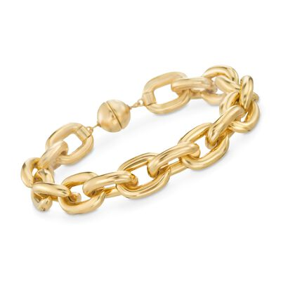 Italian Andiamo 14kt Yellow Gold Chain-Style Link Bracelet, , default