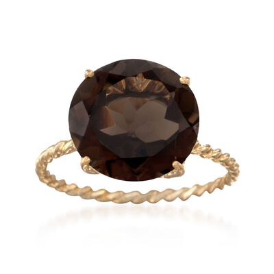 5.50 Carat Smoky Quartz Ring in 14kt Yellow Gold, , default