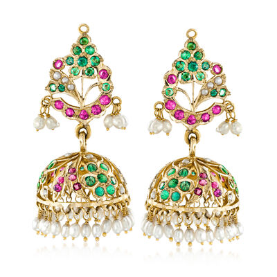 C. 1990 Cultured Pearl and 3.35 ct. t.w. Multi-Gemstone Chandelier Clip-On Earrings in 10kt Yellow Gold, , default