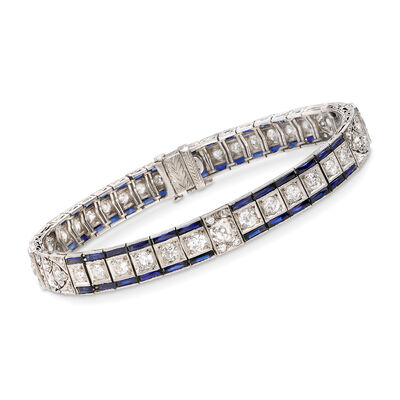 C. 1940 Vintage 5.40 ct. t.w. Synthetic Sapphire and 4.30 ct. t.w. Diamond Bracelet in Platinum