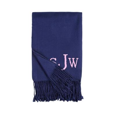 Indigo Fringe Throw Blanket, , default