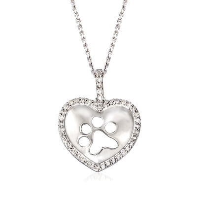.25 ct. t.w. Diamond Paw Print Heart Pendant Necklace in Sterling Silver, , default