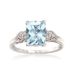 2.00 Carat Aquamarine and .10 ct. t.w. Diamond Cluster Ring in 14kt White Gold, , default
