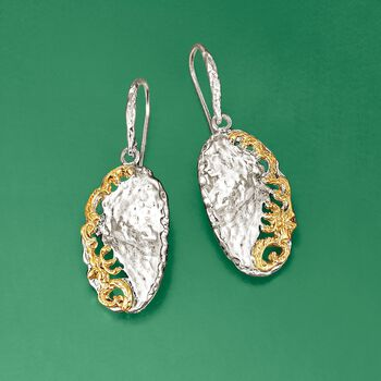 Sterling Silver and 14kt Yellow Gold Hammered Scrollwork Earrings, , default