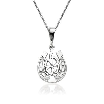 "14kt White Gold Good Luck Clover Pendant Necklace. 18"", , default"