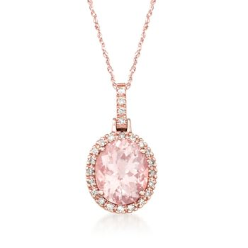 "3.30 Carat Morganite and .20 ct. t.w. Diamond Pendant Necklace in 14kt Rose Gold. 18"", , default"
