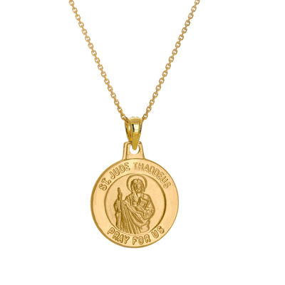 14kt Yellow Gold Small Jude Medal Pendant Necklace, , default