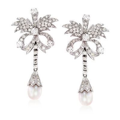 C. 1980 Vintage Cultured Pearl and 2.60 ct. t.w. Diamond Floral Drop Earrings in Sterling Silver, , default