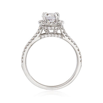 .54 ct. t.w. Diamond Halo Engagement Ring Setting in 14kt White Gold. Size 6.5