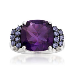 5.50 Carat Amethyst and .40 ct. t.w. Tanzanite Ring in Sterling Silver, , default