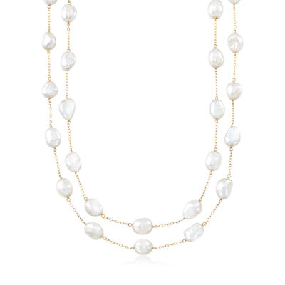 8-9mm Cultured Semi-Baroque Pearl Endless Station Necklace in 14kt Yellow Gold, , default