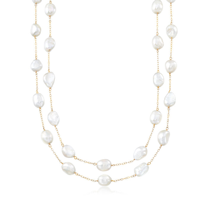 8-9mm Cultured Semi-Baroque Pearl Endless Station Necklace in 14kt Yellow Gold