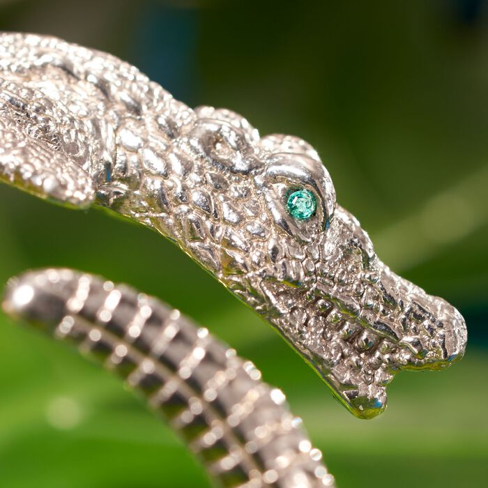 Italian Sterling Silver Alligator Bypass Bangle Bracelet with Emerald Accents