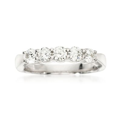 .75 ct. t.w. 5-Stone Diamond Wedding Ring in 14kt White Gold, , default