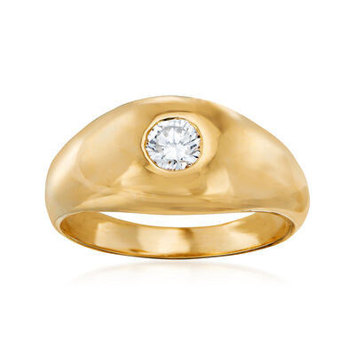 C. 1980 Vintage .35 Carat Diamond Ring in 14kt Yellow Gold