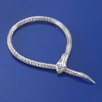 "Italian Sterling Silver Diamond-Cut Snake Bracelet. 7"", , default"