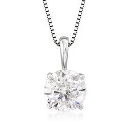 1.00 Carat Diamond Solitaire Pendant Necklace in 14kt White Gold, , default