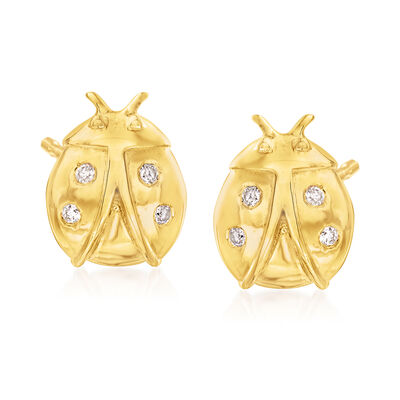 Diamond-Accented Ladybug Stud Earrings in 18kt Gold Over Sterling