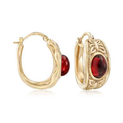 4.10 ct. t.w. Burgundy Garnet Hoop Earrings in 14kt Yellow Gold, , default