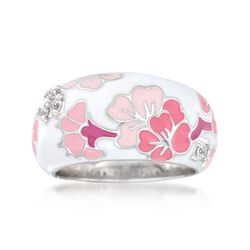 "Belle Etoile ""Constellations: Sakura"" Pink Enamel and .12 ct. t.w. CZ Ring in Sterling Silver, , default"