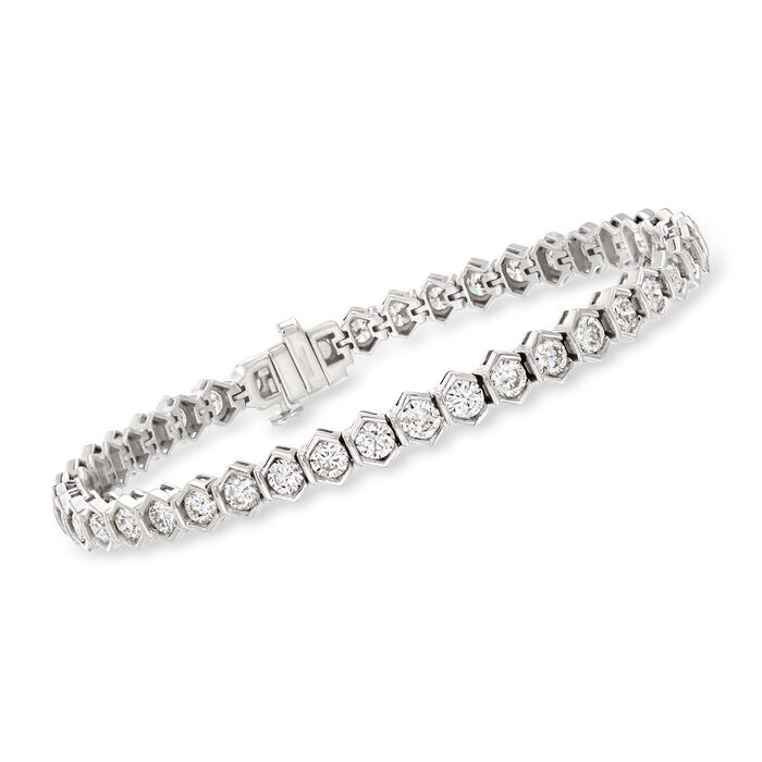 7.00 ct. t.w. Diamond Geometric Tennis Bracelet in 14kt White Gold