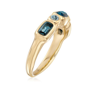 .90 ct. t.w. London and Sky Blue Topaz Ring in 14kt Yellow Gold, , default