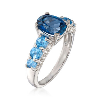 3.30 ct. t.w. London and Swiss Blue Topaz and .80 ct. t.w. White Zircon Ring in Sterling Silver, , default