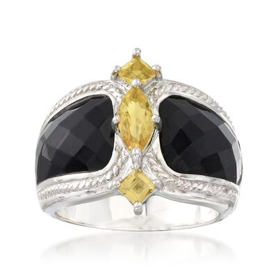 Black Agate and .80 ct. t.w. Citrine Ring in Sterling Silver
