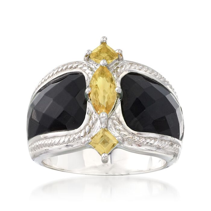 Black Agate and .80 ct. t.w. Citrine Ring in Sterling Silver, , default