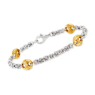 Sterling Silver Byzantine Bracelet with 18kt Gold Over Sterling Stations