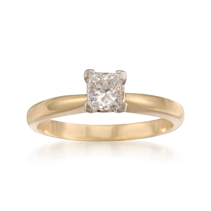 C. 2000 Vintage .50 Carat Diamond Solitaire Engagement Ring in 14kt Yellow Gold. Size 5.75