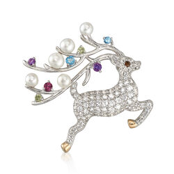Cultured Button Pearl and 1.63 ct. t.w. Multicolored Multi-Stone Reindeer Pin Pendant in Sterling Silver and 14kt Gold, , default