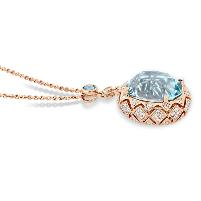 23.98 ct. t.w. Swiss Blue Topaz and 1.20 ct. t.w. Diamond Pendant Necklace in 14kt Rose Gold