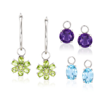 10.50 ct. t.w. Multi-Gemstone Interchangeable Hoop Earrings in Sterling Silver, , default