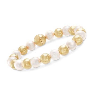 Italian Andiamo 14kt Yellow Gold Bead and 10mm Cultured Pearl Bracelet with Magnetic Clasp, , default