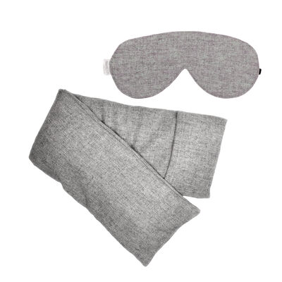 Heather Gray Wool Hot/Cold Pack and Eye Mask Set, , default