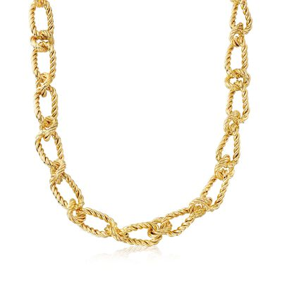 Italian 18kt Gold Over Sterling Oval and Round Twisted Link Necklace, , default