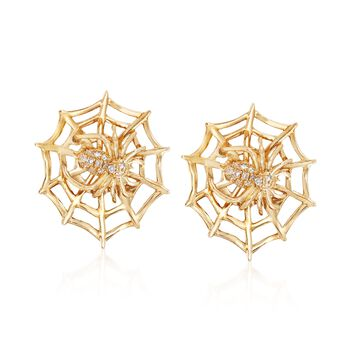 14kt Yellow Gold Spider and Web Earrings With Diamond Accents , , default